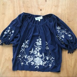 Fifteen Twenty Blue Embroidered Gathered Top